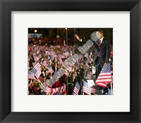 Framed Barack Obama during election night in Grant Park on November 4, 2008 in Chicago, Illinois