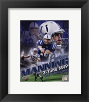 Framed Peyton Manning 3 X MVP Portrait Plus