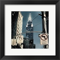 Framed Manhattan - no turn signs