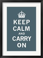Framed Keep Calm and Carry On Dark Teal