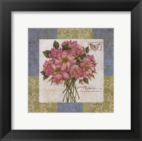 Flowers on Blue II Framed Print