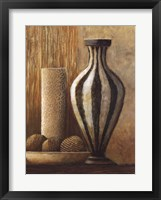 Framed Natural Raffia and Clay I