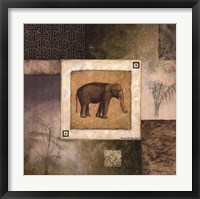 Elephant Woodcut Framed Print