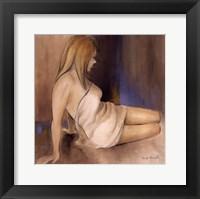 Waking Woman II (blue) Framed Print