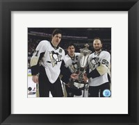 Framed Sidney Crosby, Evgeni Malkin, & Sergei Gonchar With the 2008-09 Prince of Wales Trophy