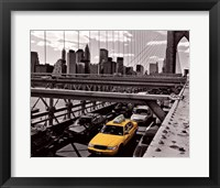 Framed Yellow Cab on Brooklyn Bridge