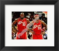 Framed LeBron James & Shaquille O'Neal 2009-10 Group Shot