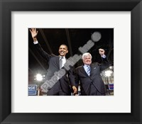 Framed U.S. Senator Edward Kennedy & Senator Barack Obama at a 2008 Campaign Rally