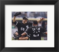 Framed Mark Buehrle '09 Perfect Game celebration w/ Castro