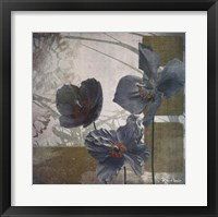 Framed Cerulean Poppies II