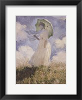 Sketch of Woman and Umbrella Framed Print