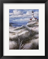 Lighthouse with Sand Dunes Framed Print