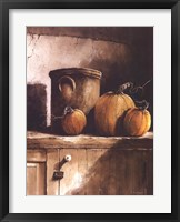 Framed Crock and Pumpkins