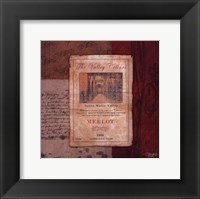 Merlot Wine Label Framed Print