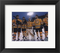 The Boston Bruins Post-Game Lineup 2010 NHL Winter Classic Framed Print