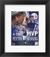 Framed Peyton Manning 4 X MVP Portrait Plus