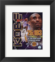 Framed Kobe Bryant Los Angeles Lakers All-Time Leading Scorer Portrait Plus