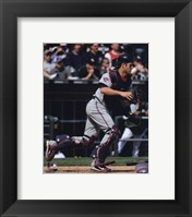 Framed Joe Mauer 2010 Catching Action