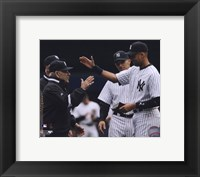 Framed Yogi Berra, Derek Jeter, & Joe Girardi 2010 Yankees World Series Ring Ceremony
