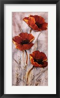 Framed Red Poppies on Taupe II