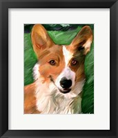 Framed Corgie on the Lawn
