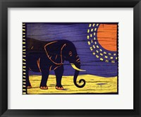 Woodblock Elephant Framed Print