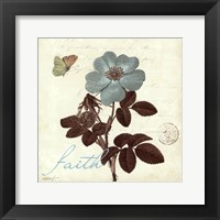 Touch of Blue II- Faith Framed Print