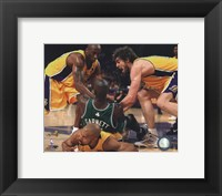 Framed Kobe Bryant, Pau Gasol, Derek Fisher & Kevin Garnett fight for ball - 2010 NBA Finals Game 6 (#15)