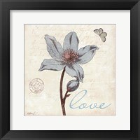 Touch of Blue IV - Love Framed Print