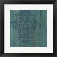 Framed Verdigris Damask I