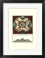 Framed Aqua & Brown Rosette II