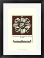Framed Aqua & Brown Rosette III