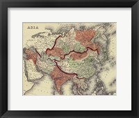 Framed Small Antique Map of Asia (P)