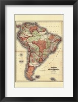 Framed Small Antique Map of S. America (P)