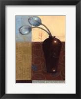Framed Ebony Vase with Blue Tulips I