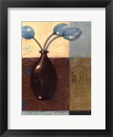 Framed Ebony Vase with Blue Tulips II
