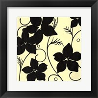 Framed Cream with Black Flowers