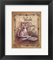 Framed Wash Day - cat