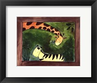 Framed Brown Giraffe and Zebra