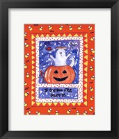 Halloween Ghost Orange Framed Print