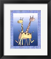 Two by Two Blue - Giraffe Framed Print