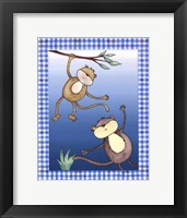 Two by Two Blue - Monkeys Framed Print