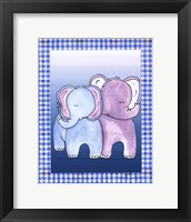 Two by Two Blue - Elephant Framed Print