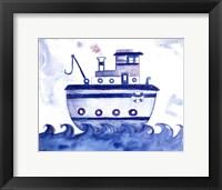 Framed Blue Tugboat
