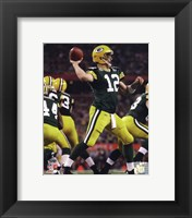 Framed Aaron Rodgers Action from Super Bowl XLV
