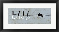 Birds on a Wire - Love Framed Print
