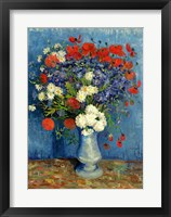Still Life: Vase with Cornflowers and Poppies, 1887 Framed Print