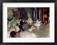The Rehearsal of the Ballet on Stage Framed Print