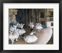 Ballet Rehearsal on the Stage, 1874 Framed Print