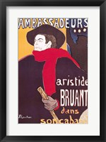 Framed Poster advertising Aristide Bruant